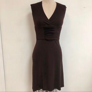 Max Studio chocolate brown V neck dress w/ pleats